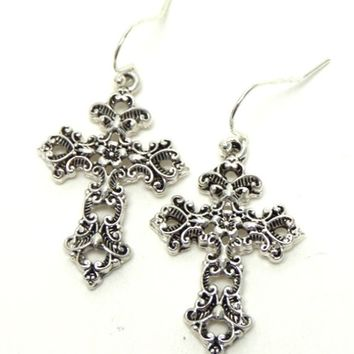 Cross Filagree Cut Hanging Hook Earrings