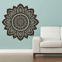 Wall Decal Vinyl  Mural Sticker Art Decor Bedroom Yoga Kitchen Ceiling Mandala Menhdi Flower Pattern Ornament Om Indian Hindu Buddha (z2842)