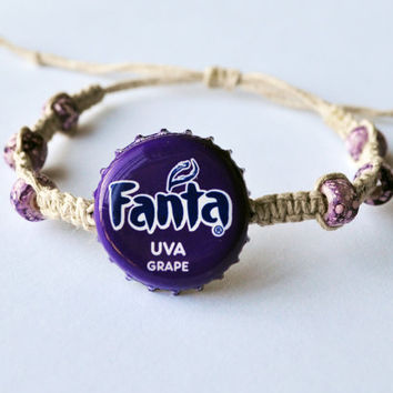Purple Fanta Soda Recycled Bottle Cap Hemp Bracelet, purple jewelry, soda bottle cap, soda cap, unique bracelet