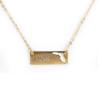 Monogrammed Golden Florida Name Plate Necklace | Accessories | Marley Lilly