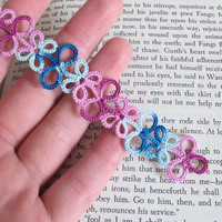 Pink , Blue Bookmark in Tatting - Eva