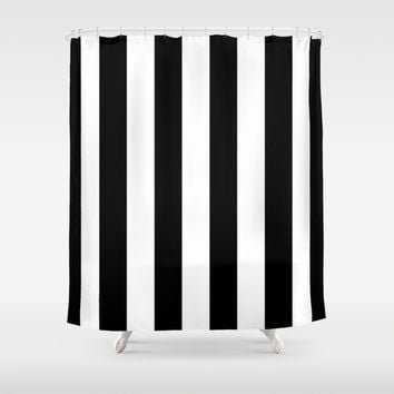 Stripe Black & White Shower Curtain by BeautifulHomes | Society6