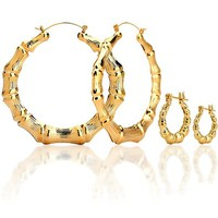 "14K Gold Plated Hollow Round Bamboo Hoop Earings. 7 Different Sizes from .75"" to 3.5"""