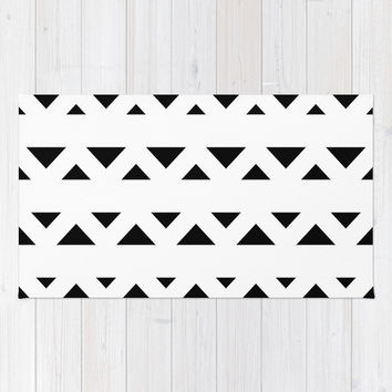 Tribal Triangles Black & White Area & Throw Rug by BeautifulHomes | Society6