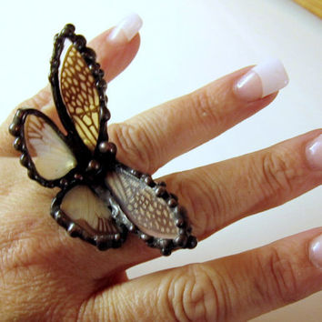 $75.00 Butterfly Wing Jewelry Cicada Wing Ring by DebrasDivineDesigns