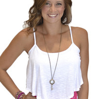 Strappy Flowy Crop Top - White