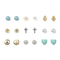 Peace, Love and Flowers Stud Earrings Set of 9
