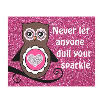 Cute Owl with Inspirational Sparkle Quote