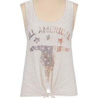 All American tie front graphic tank