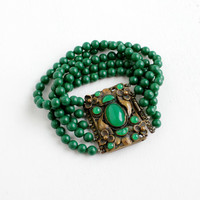 Antique Brass Green Glass Beaded Leaf and Flower Motif Art Deco Bracelet- Vintage 1915 Costume Jewelry