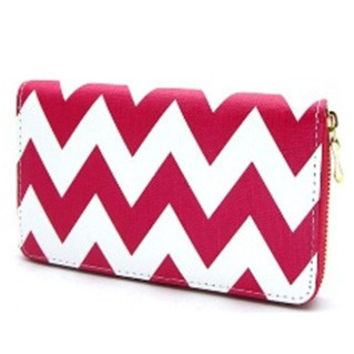 Wallet-Faux Leather Fuschia Chevron Wallet