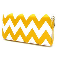 Wallet-Faux Leather Yellow Chevron Wallet