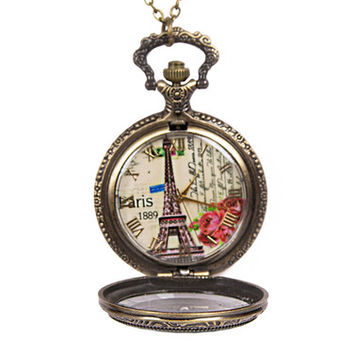 Paris Locket Watch Necklace