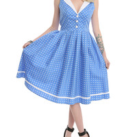 Hell Bunny Blue Polka Dot V-Neck Dress