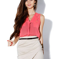 Papaya Clothing Online :: two pocket chiffon top