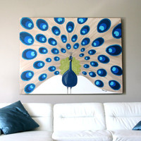 Swarovski painting Majestic extra large peacock by LydiaGee