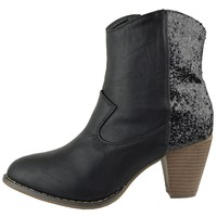 Womens Glitter Ankle Boots Western High Heel Casual Booties Black Size 5.5-10