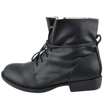 Womens Faux Leather Ankle Boots Fur Lining Simple Lace Up Shoes Black Size 5.5-10