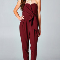 BURGUNDY TIED SWEETHEART JUMPSUIT