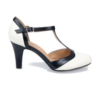 White & Black Daisy T-Strap Pumps