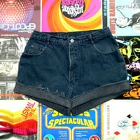 Vintage Denim Cut Offs - 90s Dark Stone Washed Jean Shorts - High Waisted/Frayed/Rolled Up/Distressed COUNTY SEAT Shorts - Misses Size 14
