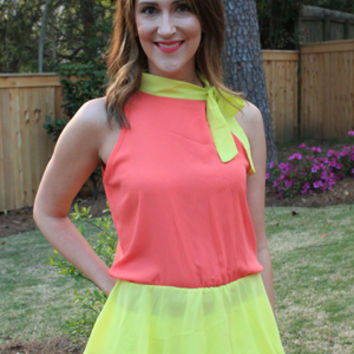 """Blythe"" ColorBlock Top in Coral"