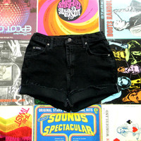 Vintage Denim Cut Offs - 90s Black Jean Shorts - High Waisted/Frayed/Rolled Up/Cuffed Denim Shorts by Riders Size 6/8 Medium M