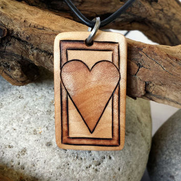 Heart Pendant, Heart Necklace, Wood Necklace Pendant, Heart Jewelry, Curly Maple