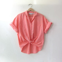 80s short sleeve shirt. button down pocket shirt. oversized peach shirt.