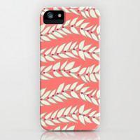 Leaf Dot Stripe Coral iPhone & iPod Case by Jacqueline Maldonado | Society6