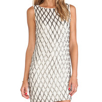 Alice + Olivia Dalyla Beaded Dress in Beige