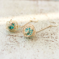 Wire Ball earrings with green beads