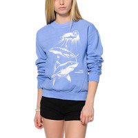 Obey Never Sleep Blue Throwback Crew Neck Sweatshirt