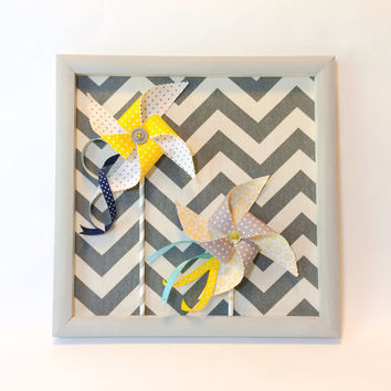 Fabric Pinwheel Wall Decor - in Yellow and Grey 12x12