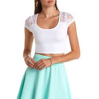 CAP SLEEVE LACE YOKE CROP TOP