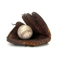 Vintage leather Louisville Slugger ball glove with softball / distressed cowhide leather