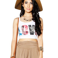 Papaya Clothing Online :: LOVE GRAPHIC CROP TOP
