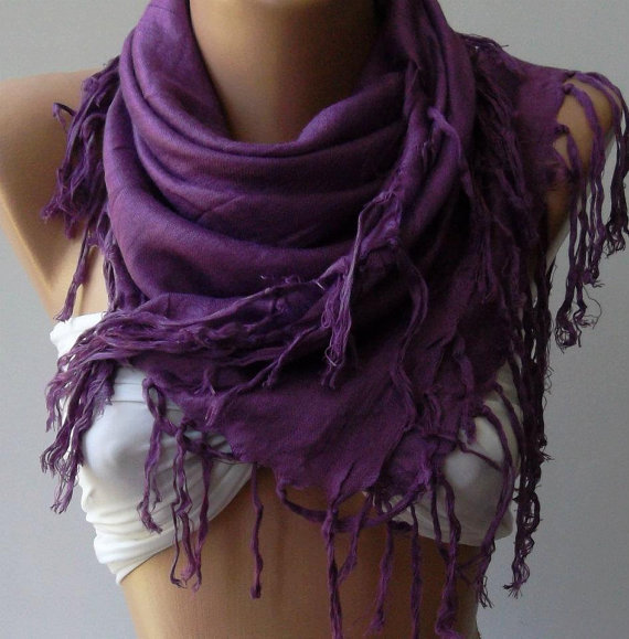 Purple Shawl / Scarf by womann on Etsy
