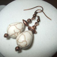 NEW White Turquoise and Antique Copper Stone Earrings | DesignsByAmyB - Jewelry on ArtFire