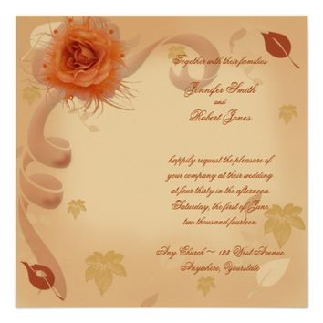 Orange Rose in the Fall Wedding Invitation