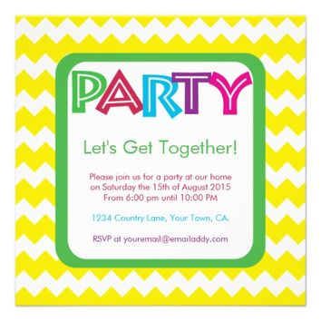 Wild Chevron Color Party Invitation