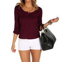 Burgundy Rolled-up Sleeve