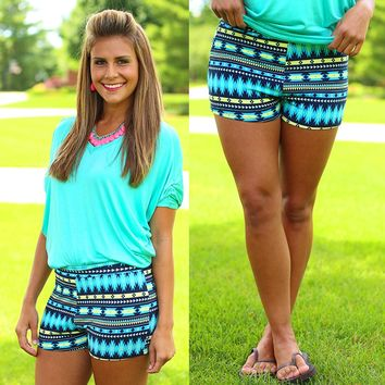 Meet Me At The River Patterned Shorts