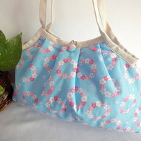 Japanese Kimono Pattern Granny bag purse floral wreath by MofLeema