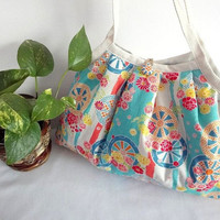 Japanese Kimono Pattern Granny bag purse flowers light by MofLeema