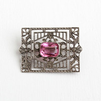 Vintage Art Deco Sterling Silver Filigree Pink Stone Brooch - Antique 1930s Intircate Hallmarked Rectangular Jewelry Pin