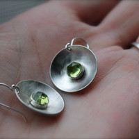 Peridot earrings sterling silver green stone by KittyStoykovich