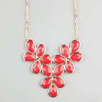 Full Tilt Facet Teardrop Flower Statement Necklace Coral One Size For Women 22683831301