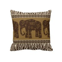 African Elephant and Zebra Skin Pattern Pillows from Zazzle.com