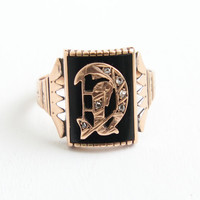 Antique Victorian 10k Rose Gold Initial D Ring - 1800s Size 14 Black Onyx, Rose Cut Diamonds Men's Fine Monogram Letter Jewelry Dated 1884